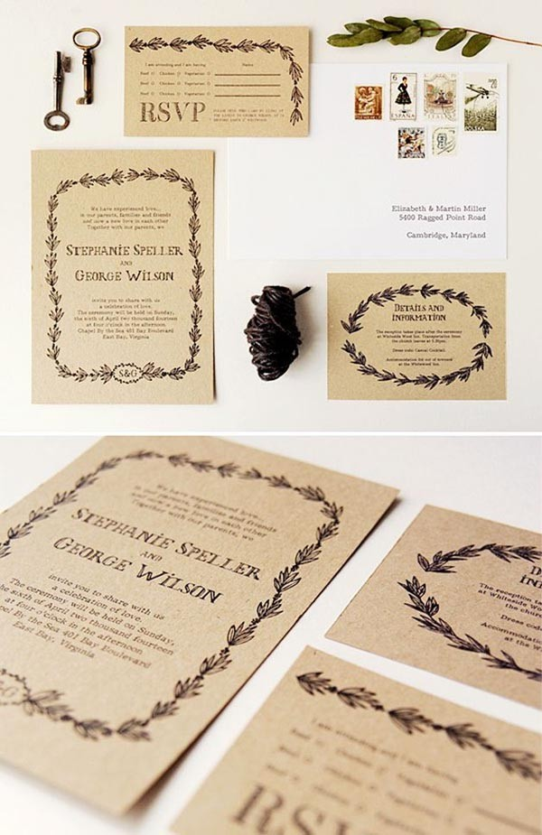 Free printable rustic wedding invitation suite & stationery