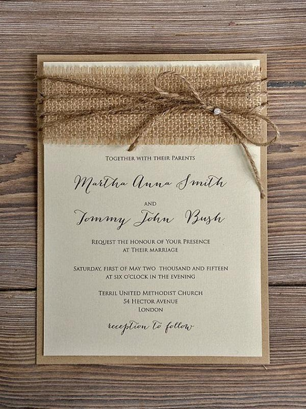 Rustic Blossom Burlap Wedding Invitation Country Style