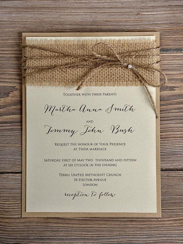 Lace Wedding Invitations Rustic Blossom Burlap Invitation Country Style