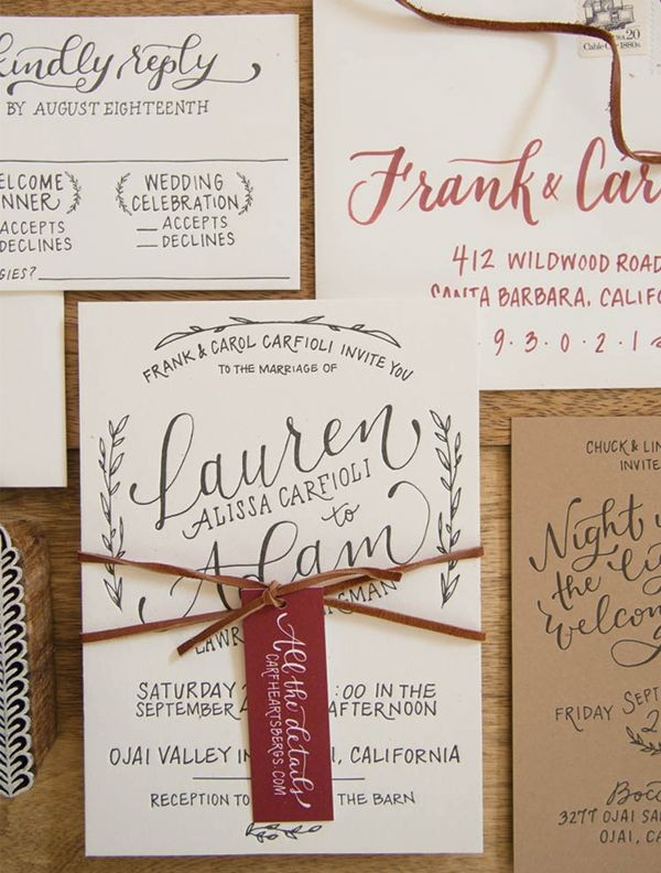 Rustic Hand Lettered Wedding Invitations with tag