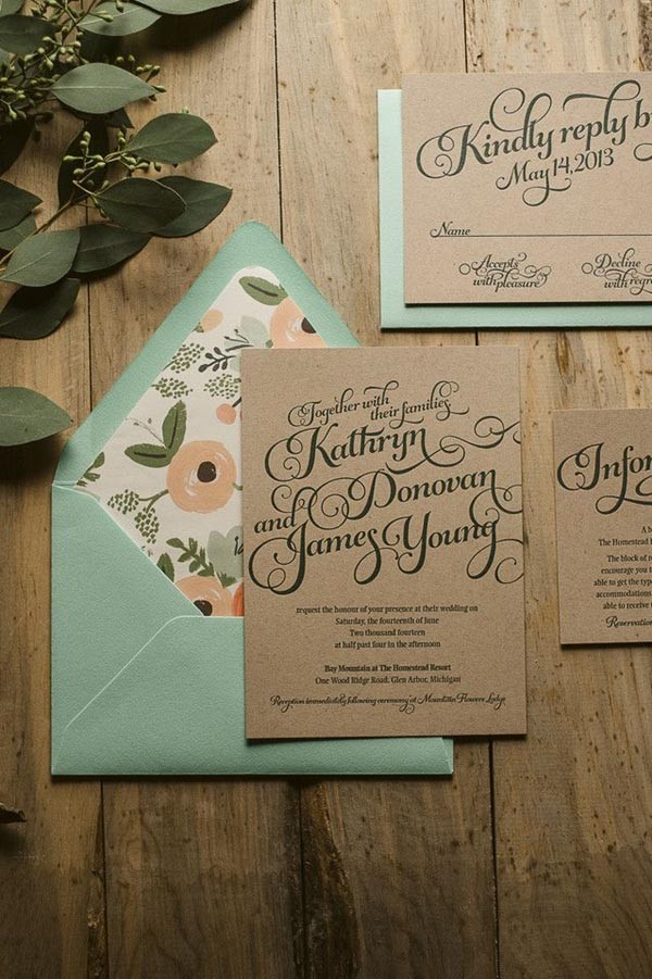 Rustic Package letterpress wedding invitations