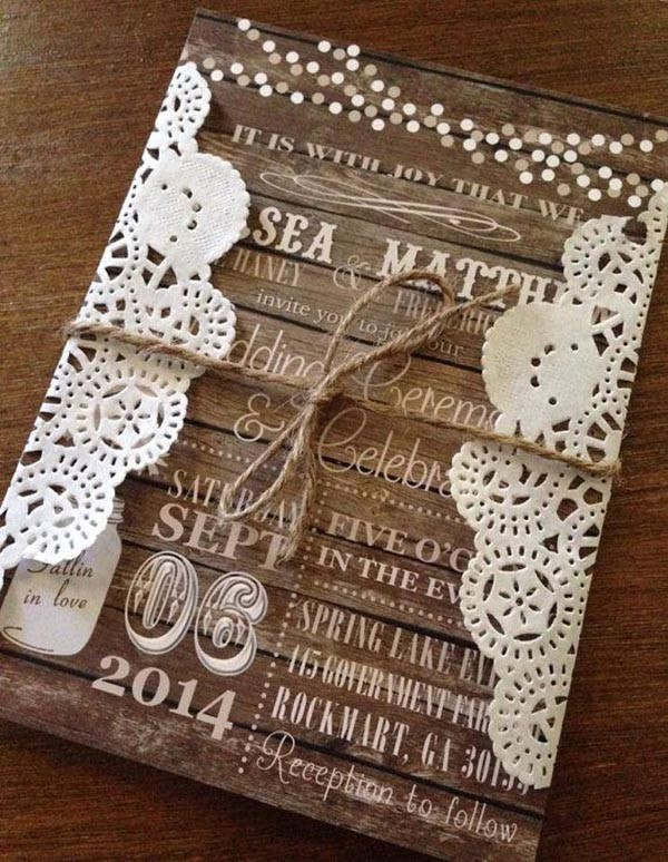 Rustic Wood Country Doily Fall Wedding Invitation