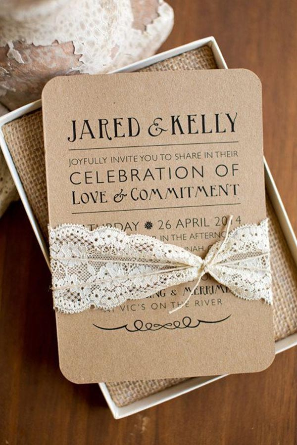rustic elegance inspired printable wedding invitation online with lace - Wedding Invitations Online