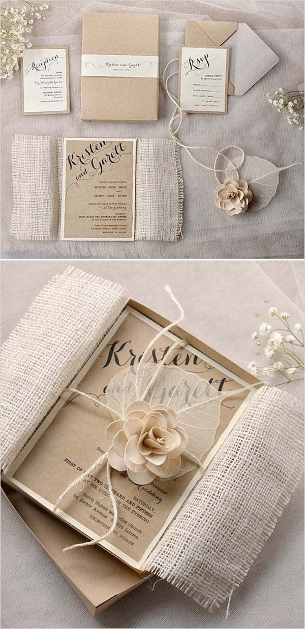 Shabby Rustic Chic Wedding Invitations