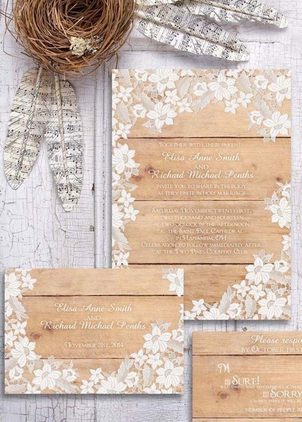 top 15 popular rustic wedding invitaitons idea samples on pinterest, Wedding invitations