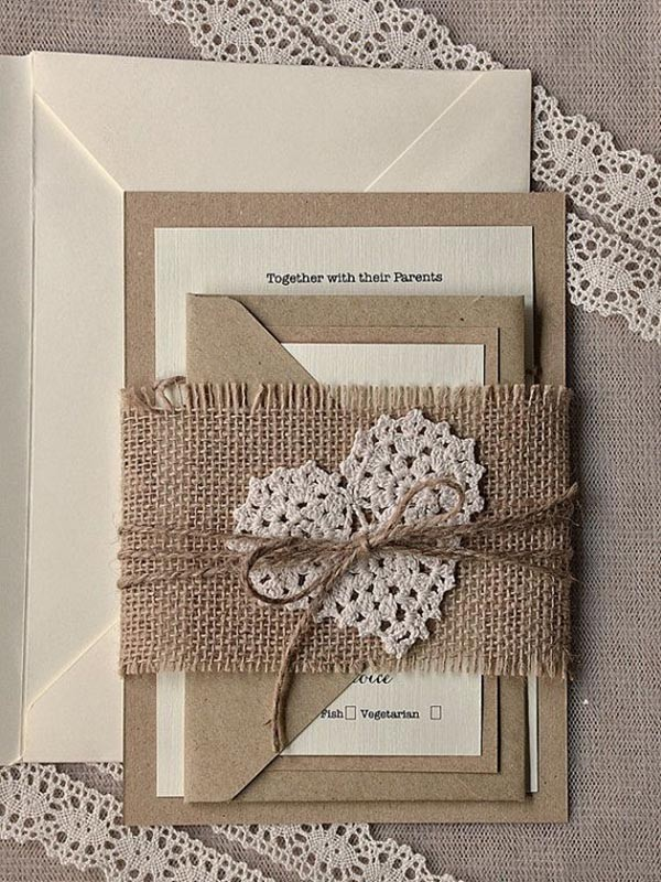 rustic lace and blurlap heart wedding invitations