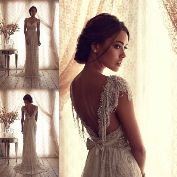 Best Vintage V-Neck Sheer Cap Sleeve Wedding Dress Beaded Lace Bridal Gown