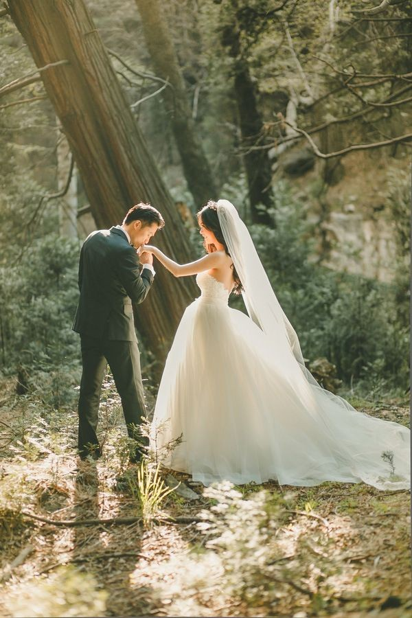 Magic Hour Wedding Portraits in the Woods