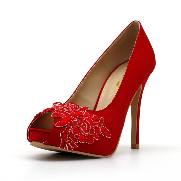 Red Wedding Shoes,Red Bridal Heels,Red Satin Lace Wedding Shoes, Red Lace