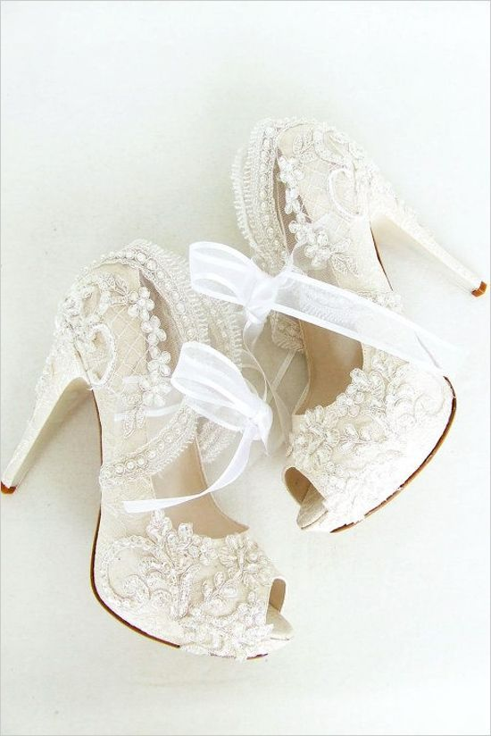 lace wedding shoes with ribbon 2015