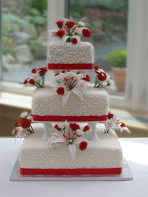red and white flower wedding cake