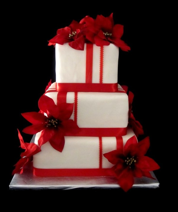 red poinsettia wedding cake