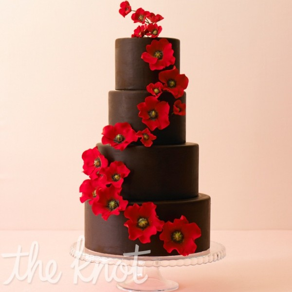 red wedding cakes WITH chocolate