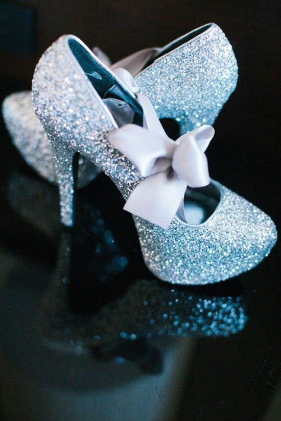 silver wedding shoes with ribbons