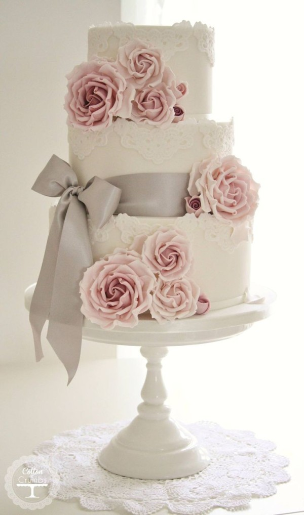 rose wedding cake WITH RIBBON 2015