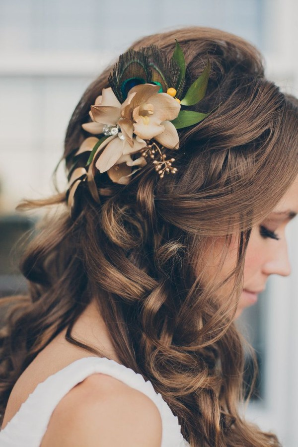 peacock wedding hairstyles accessories brown hair
