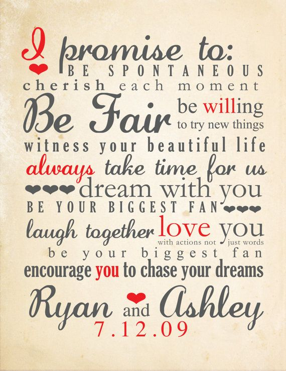 Romantic wedding vows examples for her and for him wedding vows typography example junglespirit Gallery