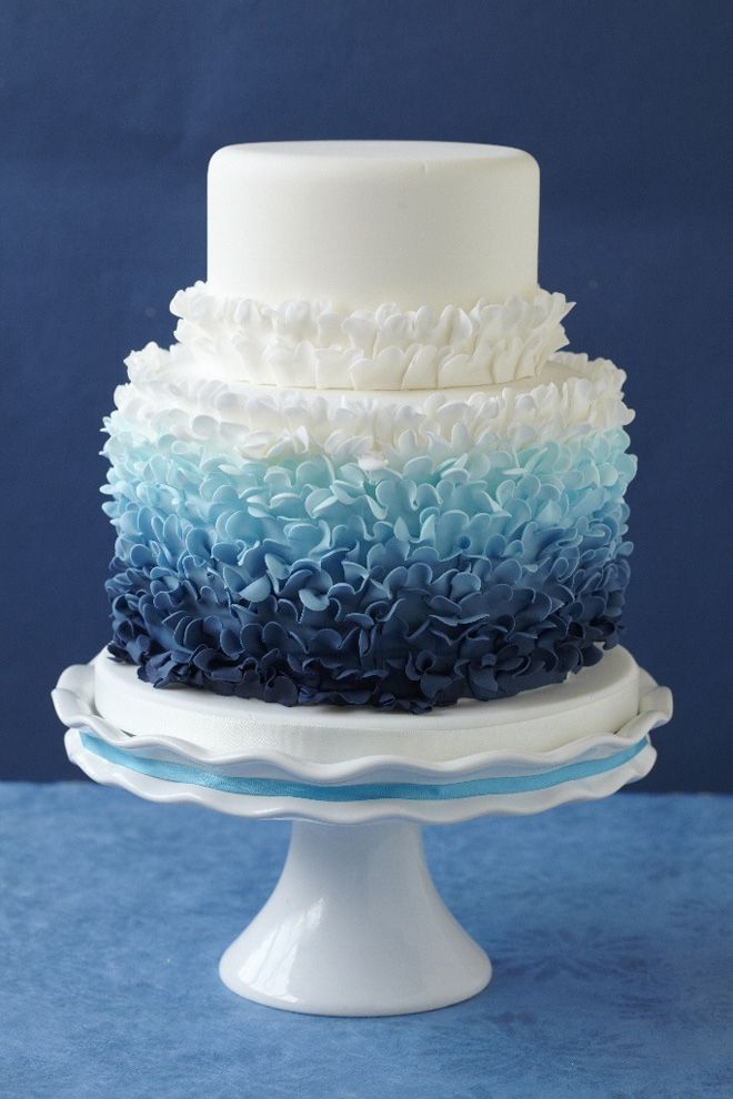 Blue ombre style wedding cake