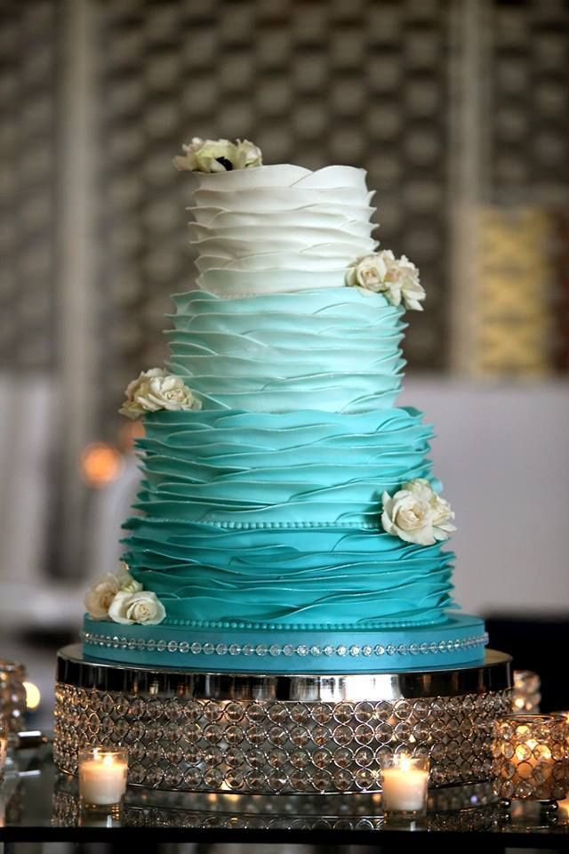 26 oh so pretty ombre wedding cake ideas elegant turquoise ombre wedding cake junglespirit Image collections