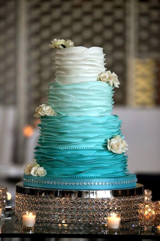 Elegant turquoise ombre wedding cake