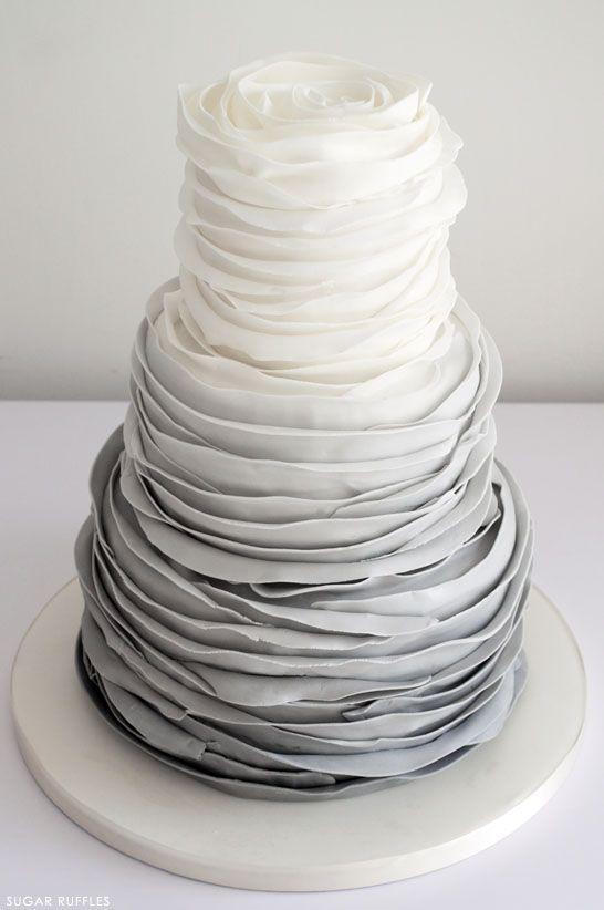 Grey Ombre Ruffled Cake