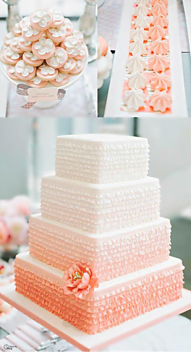 Peachy Coral Wedding Cake Ideas