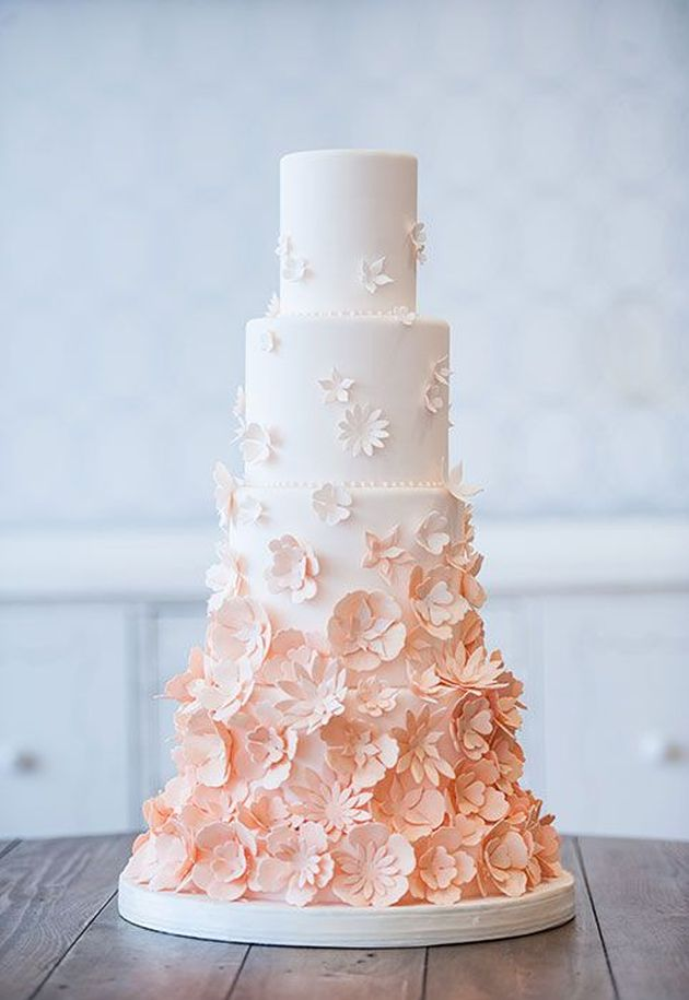 Textured floral ombre Wedding Cakes