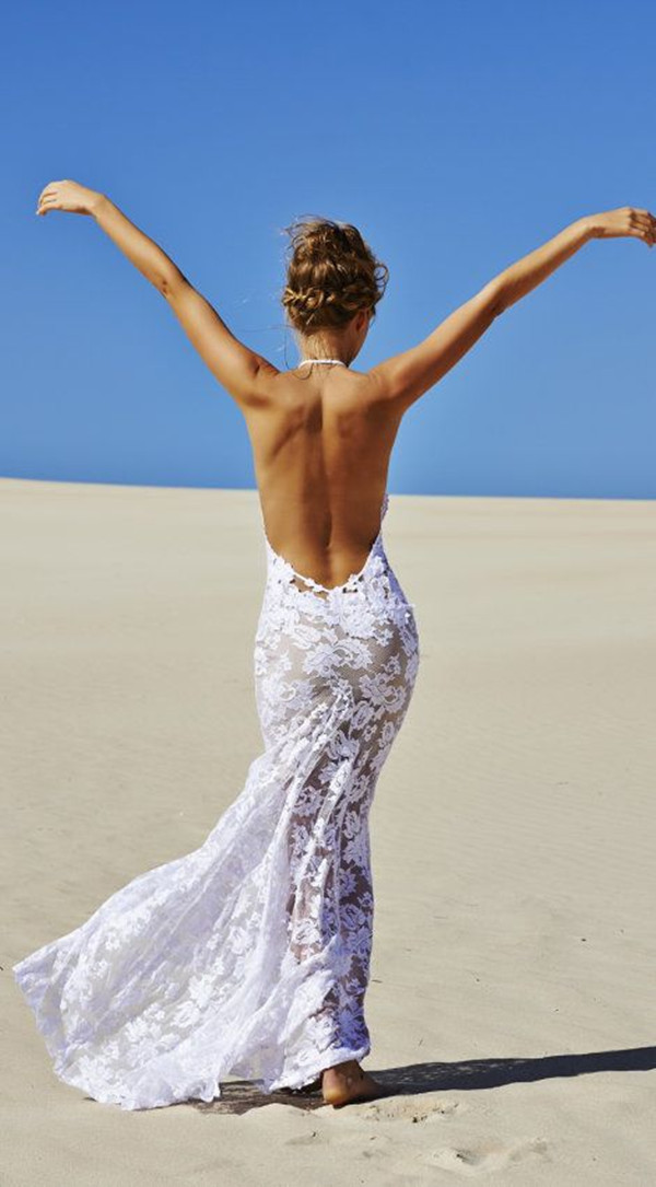 backless beach dress for beach wedding