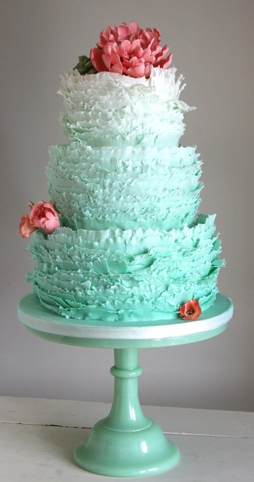 mint white ombre wedding cake
