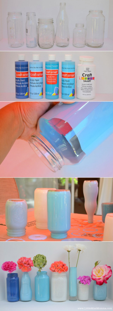 Painted-vases Painted Mason Jar Vases-diy wedding ideas