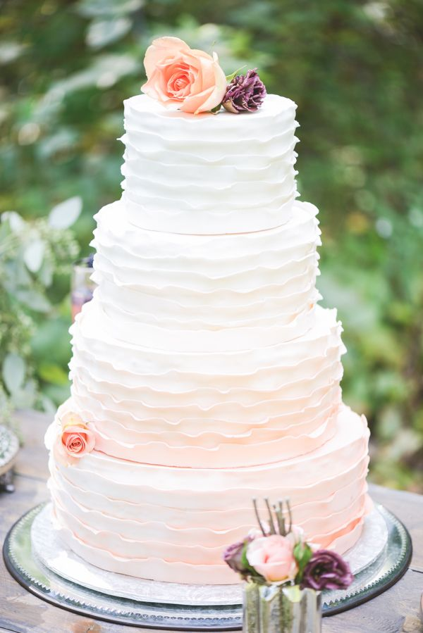 peach and white ombre wedding cake