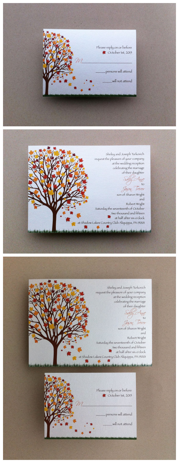 Autumn Fall Tree Wedding Invitation Set