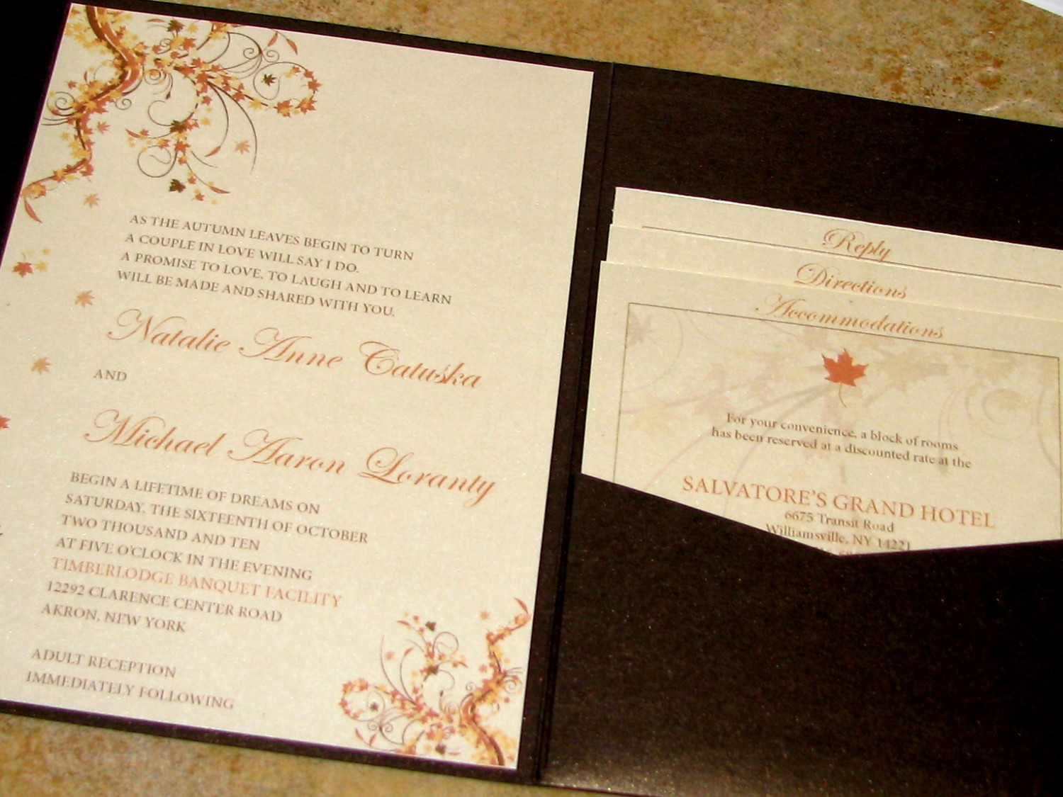fall wedding invitations kits
