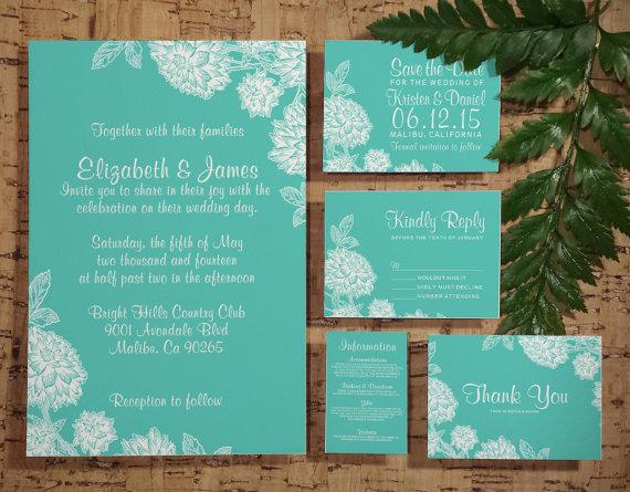 Elegant Aqua Wedding Invitation Set Suite