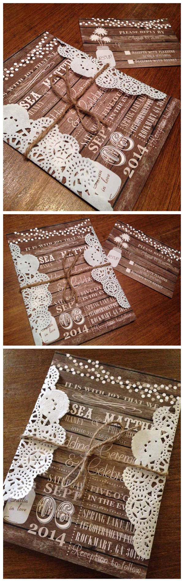 Rustic Wood Country fall wedding invitations