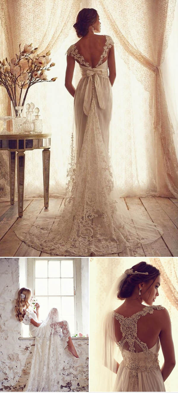 backless lace fall wedding dresses