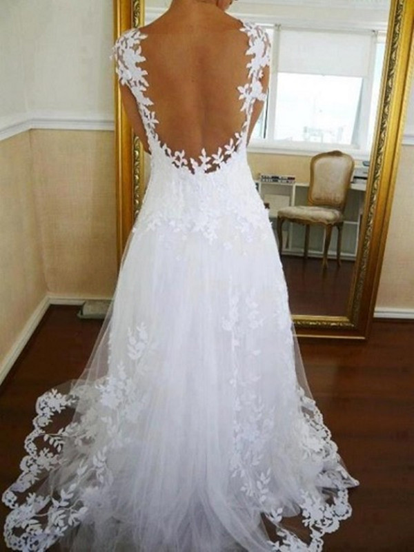 sexy backless embroidered wedding-dress