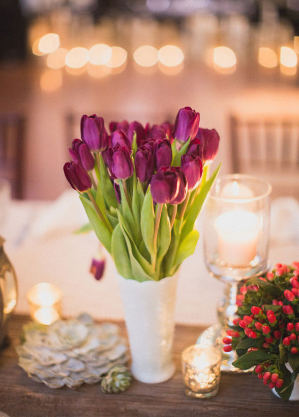 wedding flowers Tulips Centerpiece inspiration