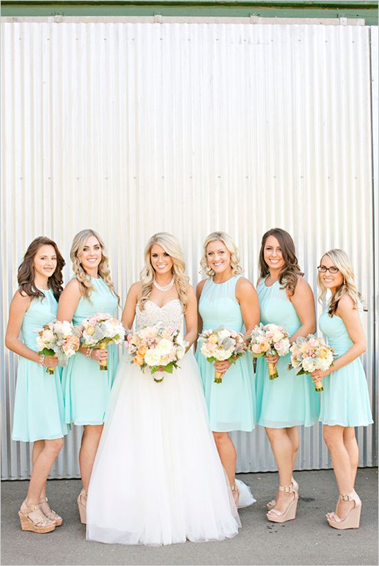 30 mint wedding color ideas for the bride to be for Mint bridesmaid dresses wedding