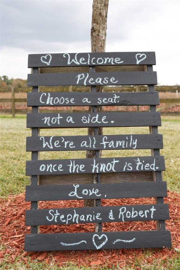 rustic and chalkboard Wedding Welcome Sign Ideas Your Wedding 5