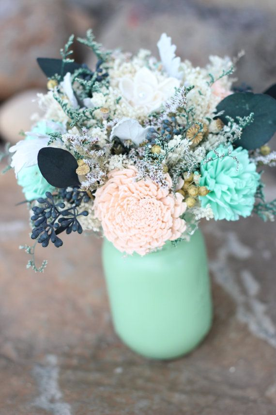 mason jars wedding centerpieces with mint and peach | WeddingInclude ...