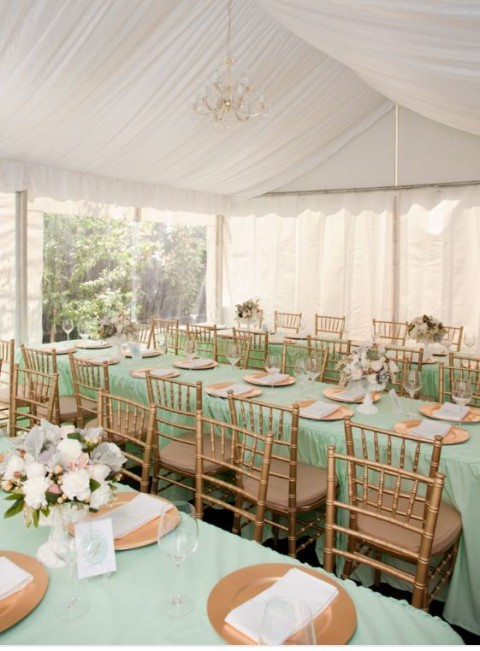 mint and gold Wedding Table Decoration