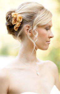 wedding hairstyles for short hair Bun-and-Curls