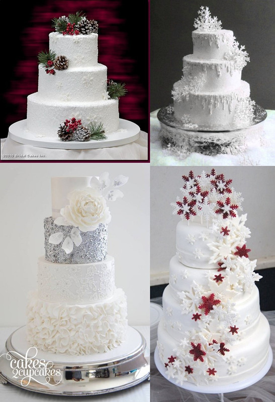 4 White Snowflake Winter Wedding Cake Ideas