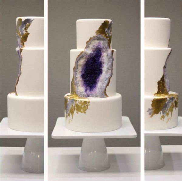 A stunning wedding cake thats made from edible geode crystals