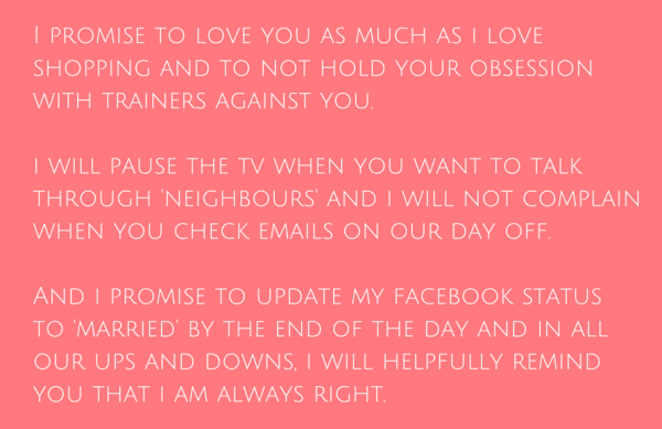 4 Funny Wedding Vows For Her
