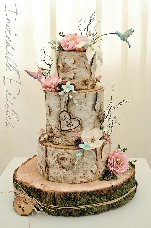 Hummingbird and Flower Birc Tree themed country wedding cakes for fall wedding