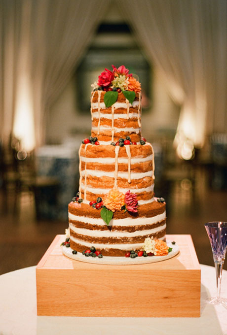 A Three-Tiered Naked Cake with Flowers