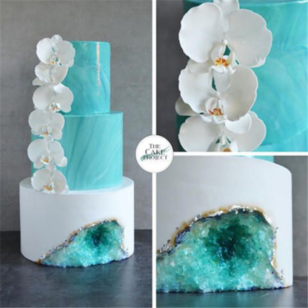 Orchids and crystals wedding cakes