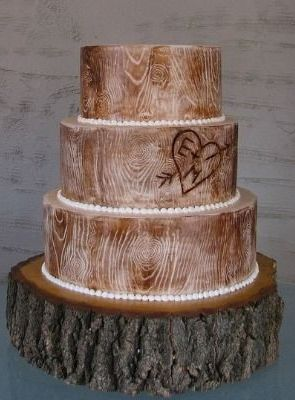 Rustic Wood Wedding Cake with wood stand